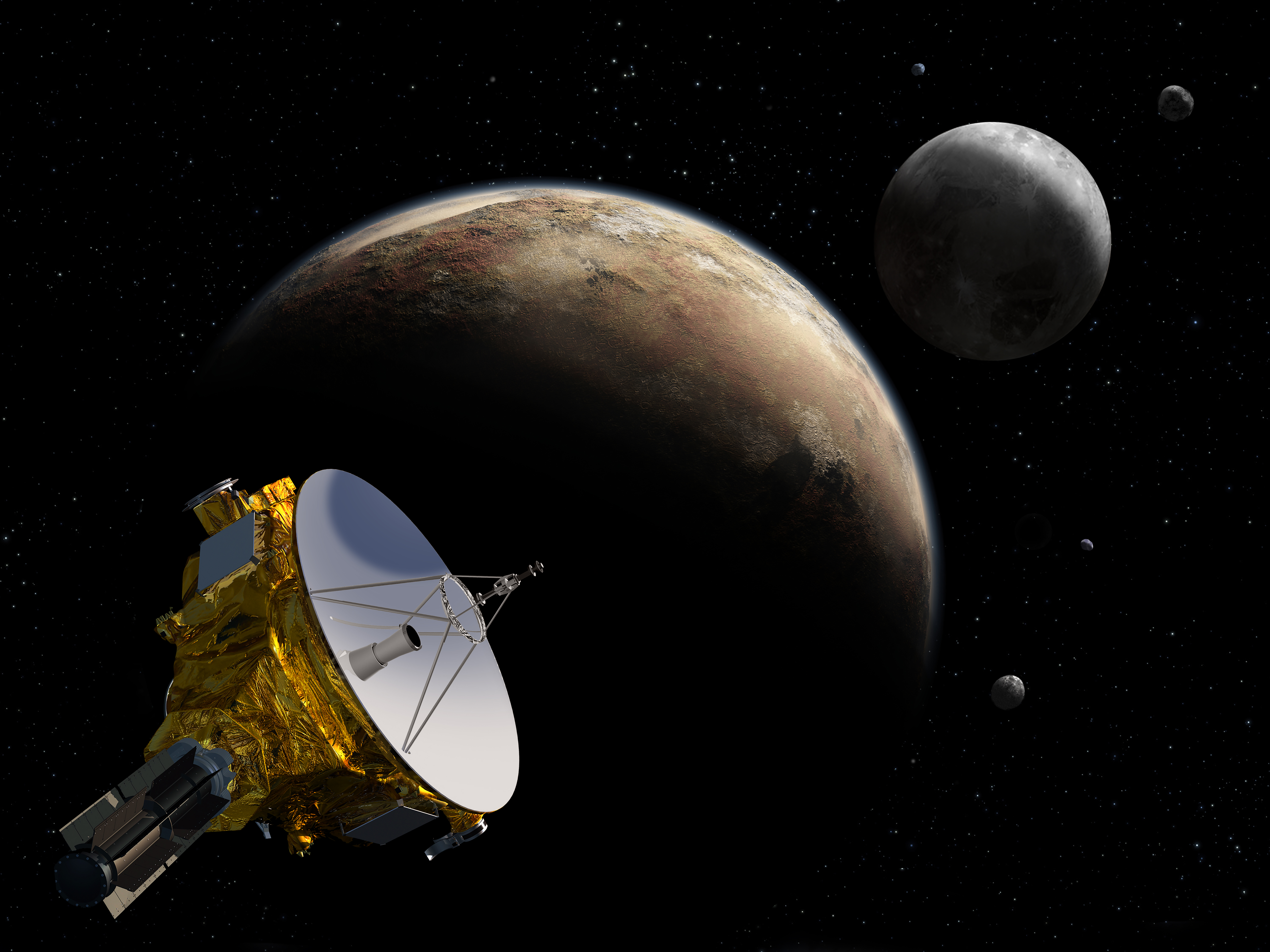 Artist's conception of New Horizons spacecraft flying by Pluto with moon Charon in the distance