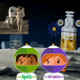 animation screen shot of Apollo and Artemis characters on Moon