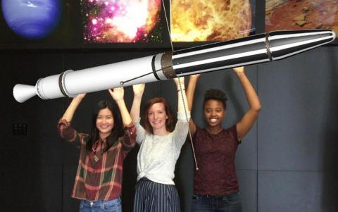 three women virtually hold Explorer 1 overhead