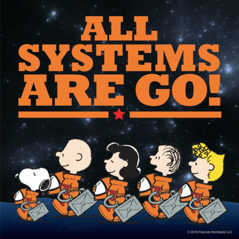 Snoopy and the Peanuts gang as astronauts