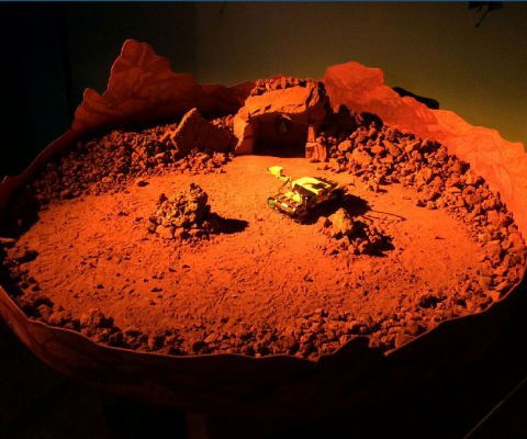 mars rover model in red sand