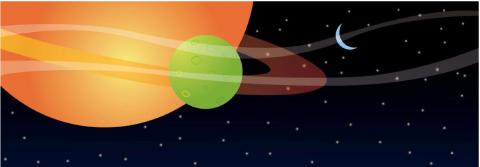 graphic image showing planets stars and moon